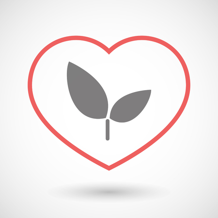 passion ecology: Illustration of a line heart icon with a plant