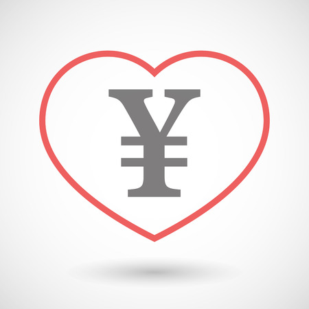 yen sign: Illustration of a line heart icon with a yen sign