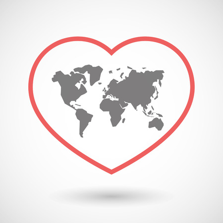 globe illustration: Illustration of a line heart icon with a world map