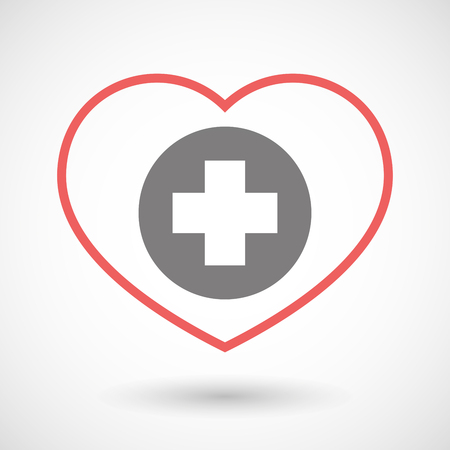 pharmacy sign: Illustration of a line heart icon with a round pharmacy sign