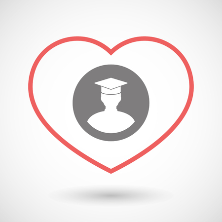 seduce: Illustration of a line heart icon with a student