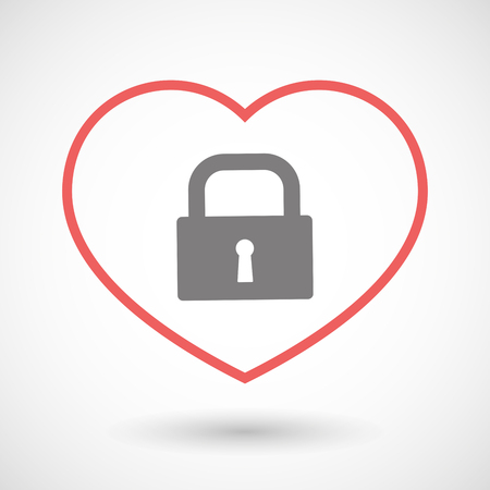 seduction: Illustration of a line heart icon with a closed lock pad