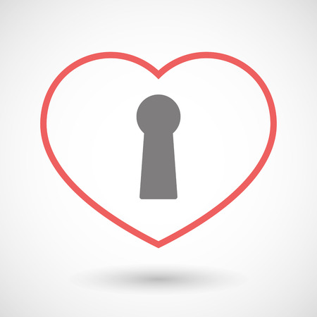 key hole: Illustration of a line heart icon with a key hole