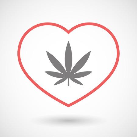 Illustration of a line heart icon with a marijuana leaf Illustration