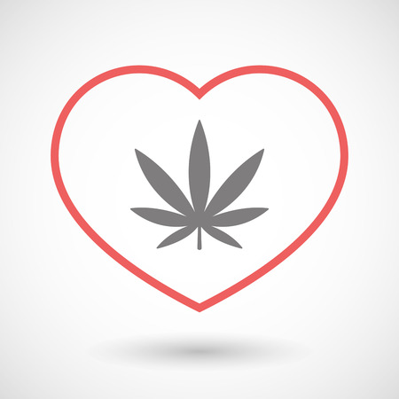 Illustration of a line heart icon with a marijuana leaf Çizim