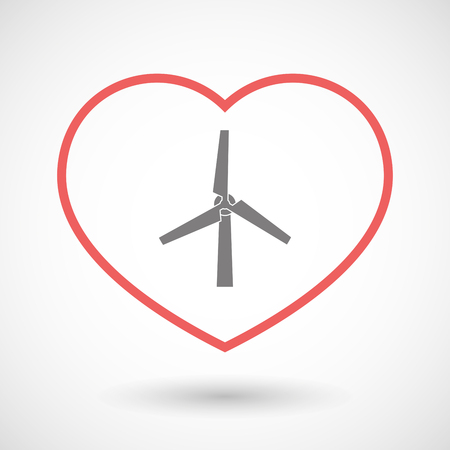 passion  ecology: Illustration of a line heart icon with a wind generator