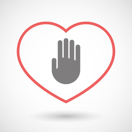 seduce: Illustration of a line heart icon with a hand Illustration