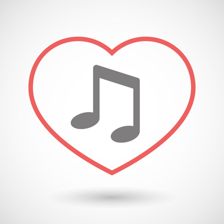 valentine musical note: Illustration of a line heart icon with a note music