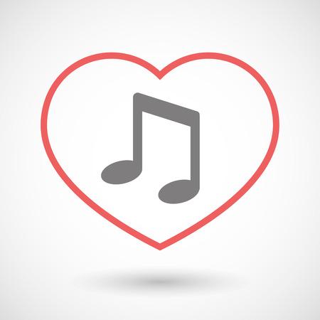 heart tone: Ilustraci�n de un icono de coraz�n l�nea con una nota de la m�sica Vectores