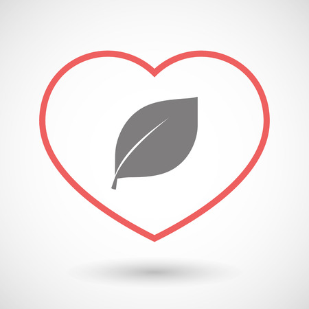 passion  ecology: Illustration of a line heart icon with a leaf Illustration