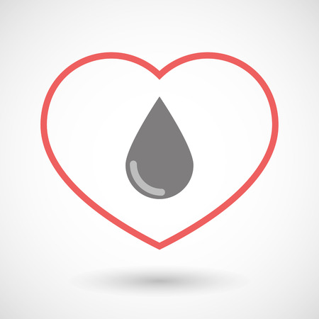 blood line: Illustration of a line heart icon with a blood drop