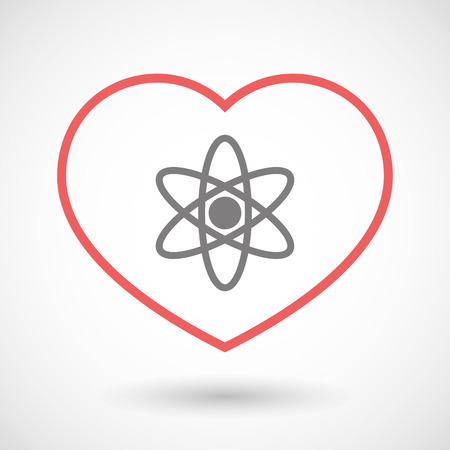 seduce: Illustration of a line heart icon with an atom Illustration