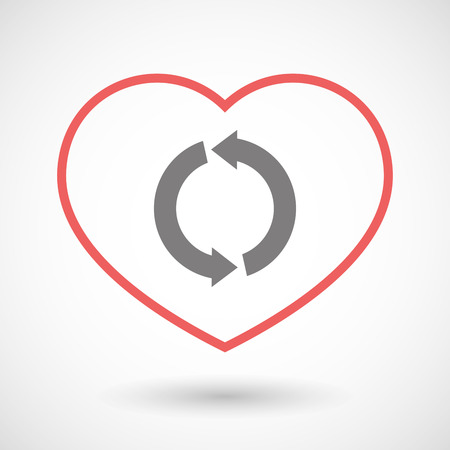 passion ecology: Illustration of a line heart icon with a round recycle sign