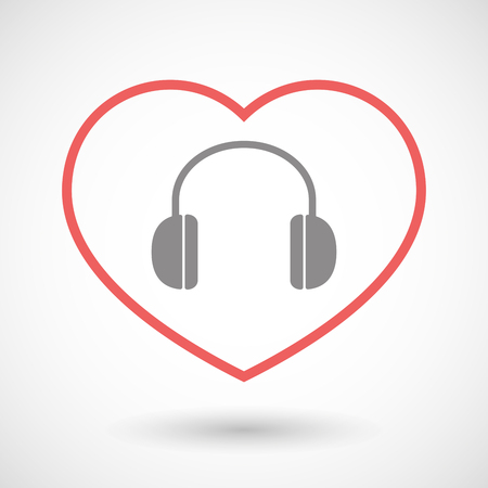 earphones: Illustration of a line hearth icon with a earphones