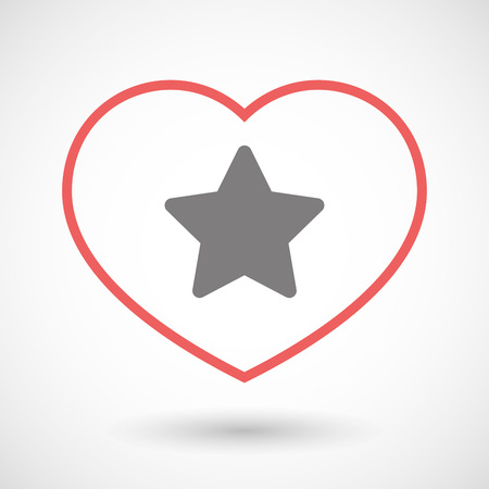 seduction: Illustration of a line heart icon with a star