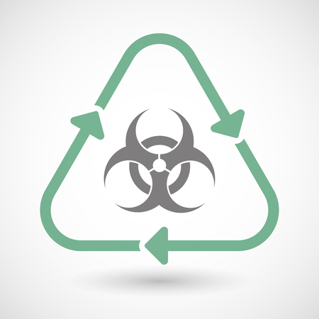 arrow poison: Illustration of a line art recycle sign icon with a biohazard sign