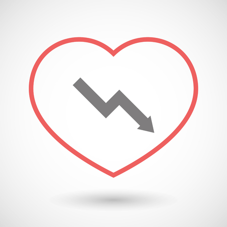 Illustration of a line heart icon with a descending graph Illustration