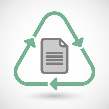 eco icon: Illustration of a line art recycle sign icon with a document