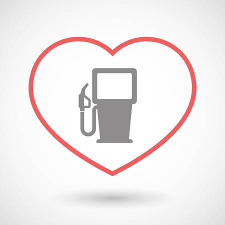 seduce: Illustration of a line hearth icon with a gas station Illustration