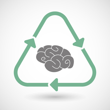 mental object: Illustration of a line art recycle sign icon with a brain Illustration