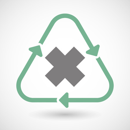 corrosive poison: Illustration of a line art recycle sign icon with an irritating substance sign