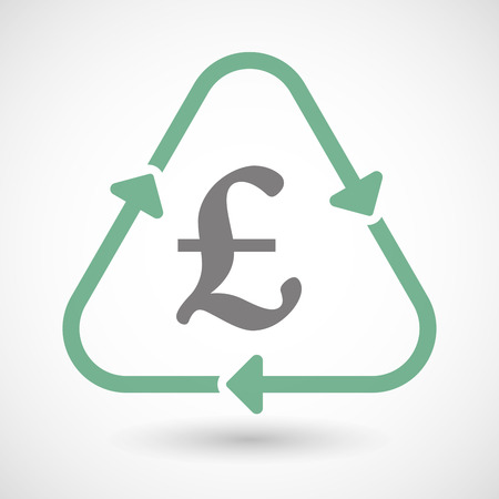 pound sign: Illustration of a line art recycle sign icon with a pound sign Illustration