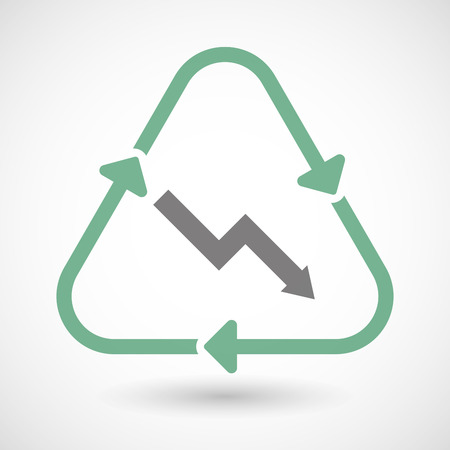Illustration of a line art recycle sign icon with a descending graph