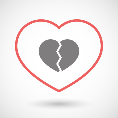 seduction: Illustration of a line heart icon with a broken heart