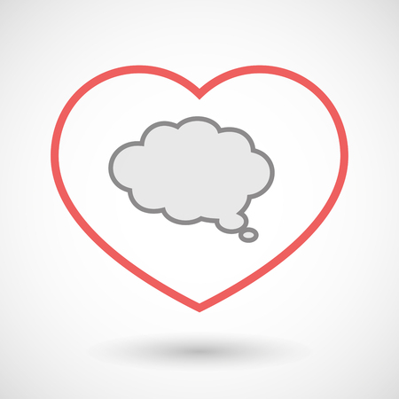 seduce: Illustration of a line hearth icon with a comic cloud balloon Illustration