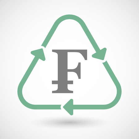 cash cycle: Illustration of a line art recycle sign icon with a swiss franc sign