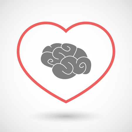 mental object: Illustration of a line heart icon with a brain