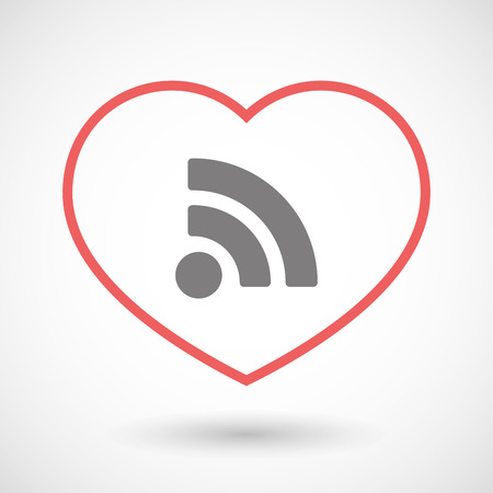 rss sign: Illustration of a line heart icon with an RSS sign