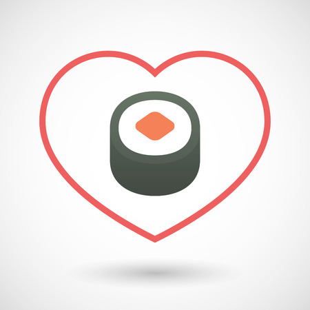 seduce: Illustration of a line heart icon with a piece of sushi maki