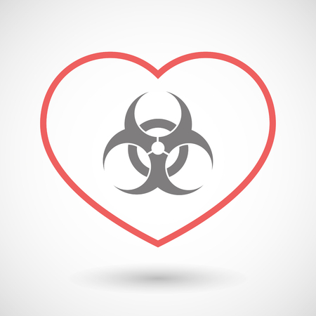 biohazard sign: Illustration of a line heart icon with a biohazard sign