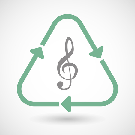 green eco: Illustration of a line art recycle sign icon with a g clef Illustration