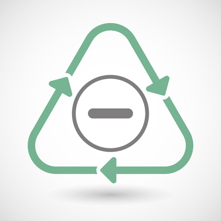 resta: Illustration of a line art recycle sign icon with a subtraction sign