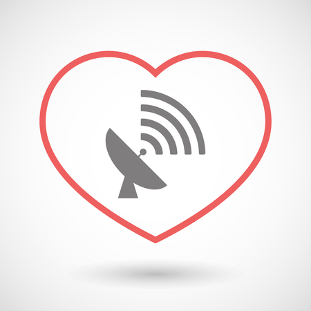 seduction: Illustration of a line heart icon with a satellite dish