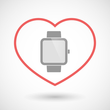 seduction: Illustration of a line hearth icon with a smart watch Illustration