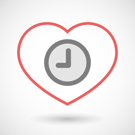 office romance: Illustration of a line heart icon with a clock