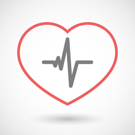 beat: Illustration of a line heart icon with a heart beat sign