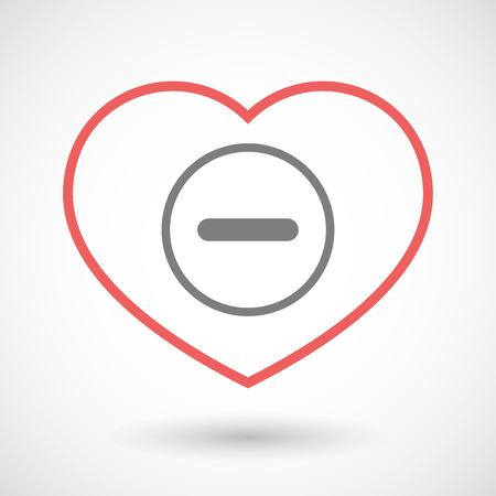 subtraction: Illustration of a line heart icon with a subtraction sign