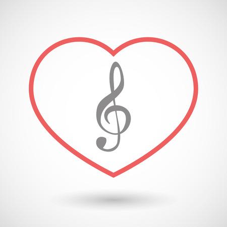 heart tone: Ilustraci�n de un icono de solera l�nea con clave de ag