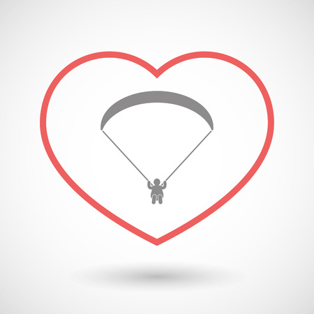 seduce: Illustration of a line hearth icon with a paraglider Illustration