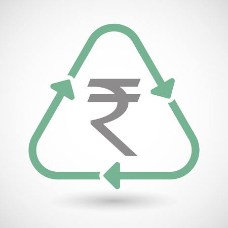 cash cycle: Illustration of a line art recycle sign icon with a rupee sign