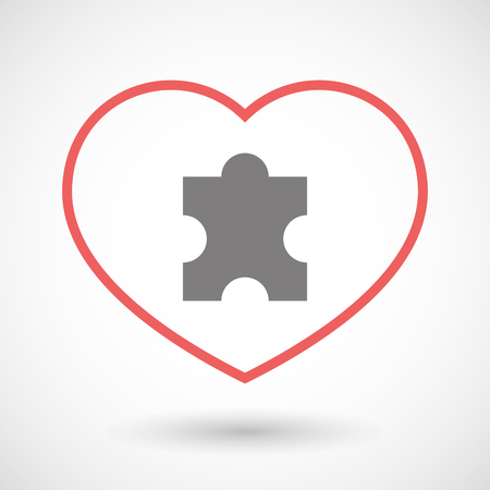 heart puzzle: Illustration of a line heart icon with a puzzle piece