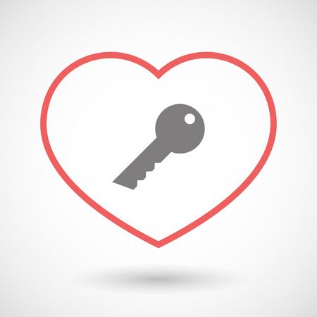 door lock love: Illustration of a line heart icon with a key