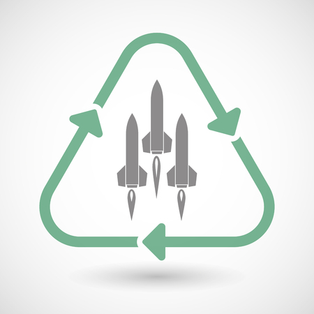 ballistic missile: Illustration of a line art recycle sign icon with missiles Illustration
