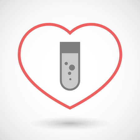 seduce: Illustration of a line heart icon with a chemical test tube
