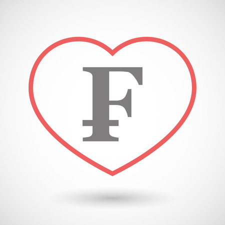 franc: Illustration of a line heart icon with a swiss franc sign