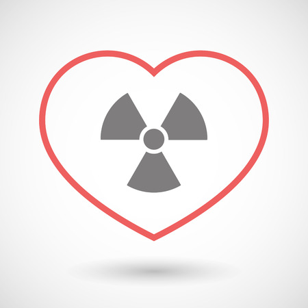 Illustration of a line heart icon with a radio activity sign Illustration